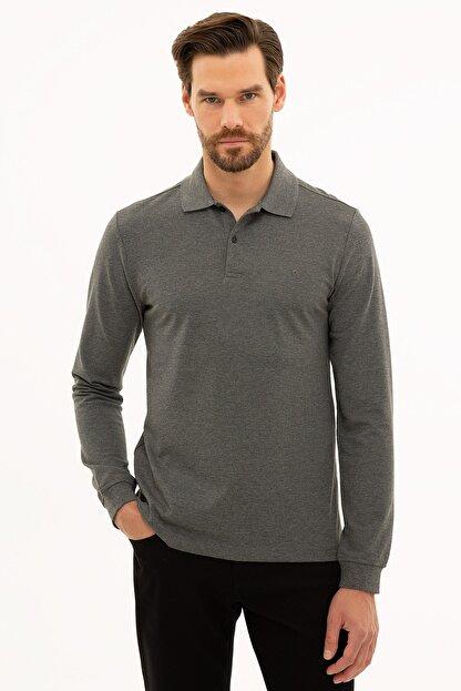 Pierre Cardin Erkek Antrasit Melanj Slim Fit Polo Yaka Sweatshirt G021GL082.000.1208969