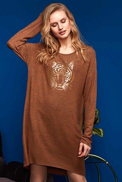 Penye Mood Kadın Kahve Elbise 8624