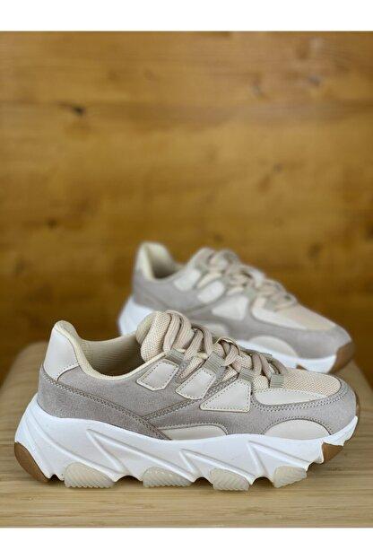 degasistanbul Kadın Kalın Taban Bej Spor Ayakkabı