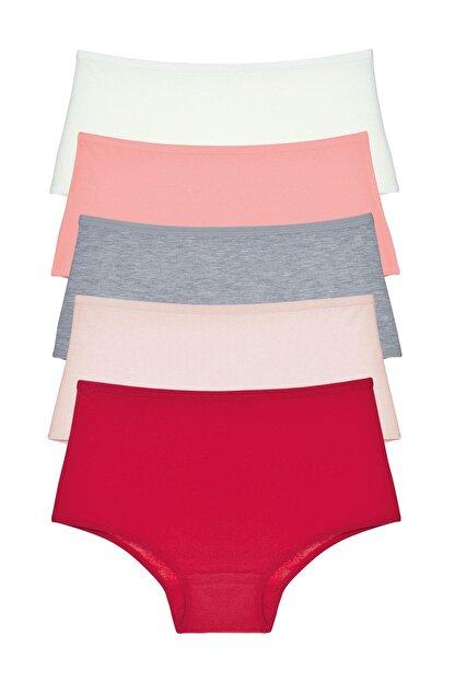 LadyMelex Kadın Karışık Renkli Yüksek Bel Külot 5'li Paket