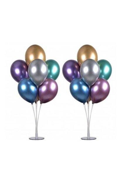Partimarket Balon Standı 7 Çubuklu 75 Cm Ve 7 Adet Metalik Balon