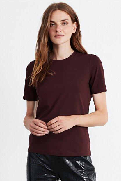 GRIMELANGE Hannah Kadın Bordo Yuvarlak Yakalı Basic T-shirt