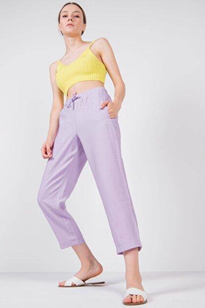 Addax Kadın Lila Bağlama Detaylı Pantolon