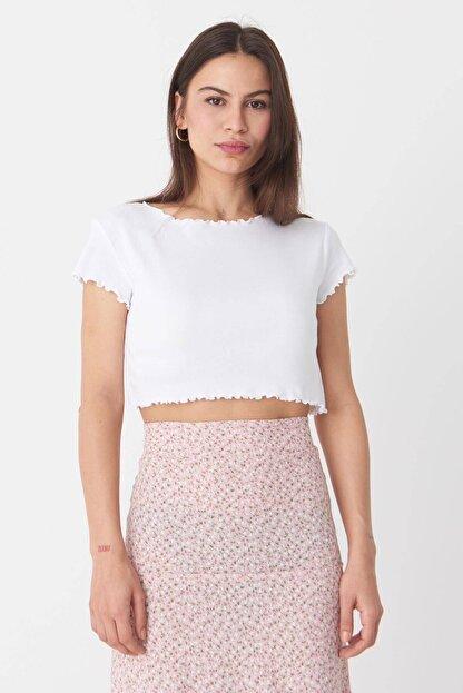 Addax Kadın Beyaz Basic T-Shirt P0972 - T7 Adx-0000022401