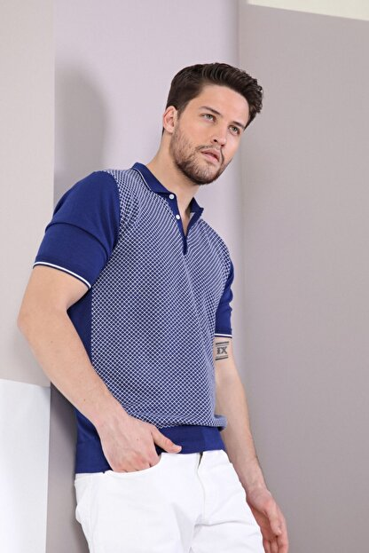 Ferraro Erkek Lacivert Polo Yaka Düğmeli Pamuk Triko T-Shirt