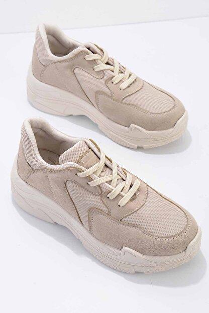 Bambi Bej Süet Kadın Sneaker K01836001065