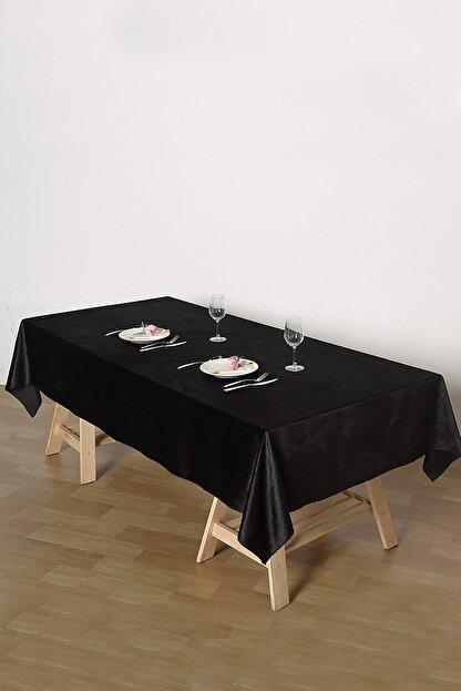 Çeyizci Siyah Kadife Nişan Masası Masa Örtüsü 135x220 cm