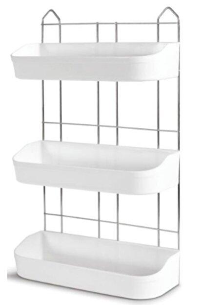AK TEMİZLİK Universal Beyaz Banyo Rafı 3'lü Ak052