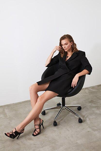 TRENDYOLMİLLA Siyah Kruvaze Ceket Elbise TWOSS19AA0062