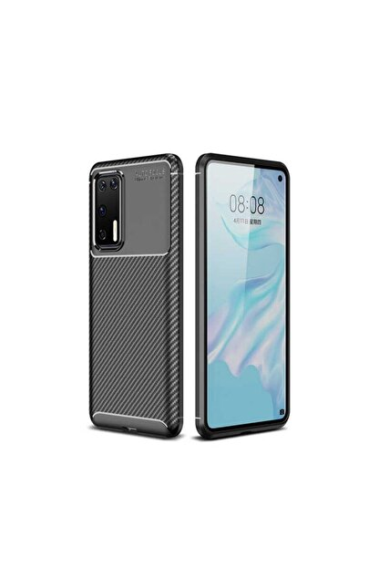 Ack Huawei P40 Kılıf Slim Fit Kamera Korumalı Karbon Silikon Siyah