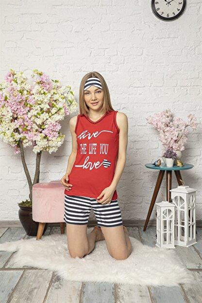 Mirano Kadın Kırmızı Love Baskılı Şortlu Pijama Takım