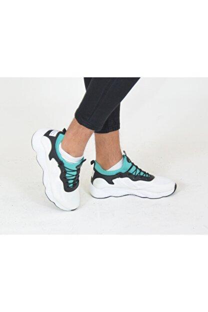 Niv Tekstil Erkek Beyaz Yeşil Macro Jamper  Spor Ayakkabı