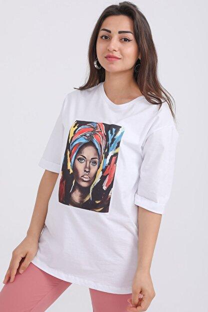 metropol tekstil Kadın Beyaz Kız Baskılı Bisiklet Yaka T-shirt Fvr-1920