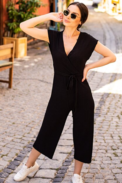 armonika Kadın Siyah Kruvaze Beli Kemerli Tulum ARM-20Y042008