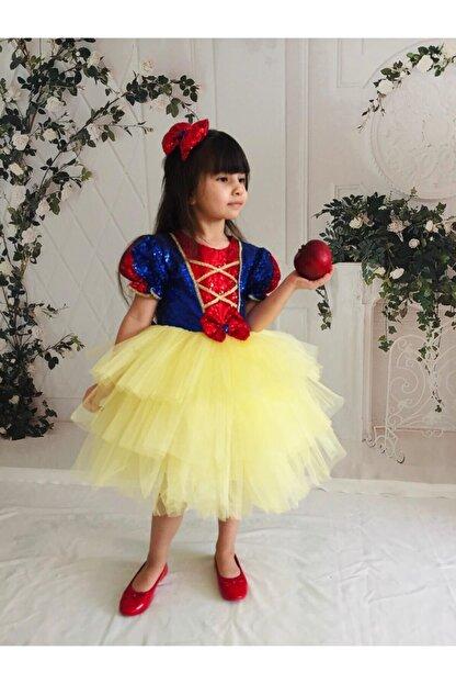 Buse&Eylül Bebe Kız Çocuk Sarı Pamuk Prenses Pul Payet Tütülü  Parti Elbisesi