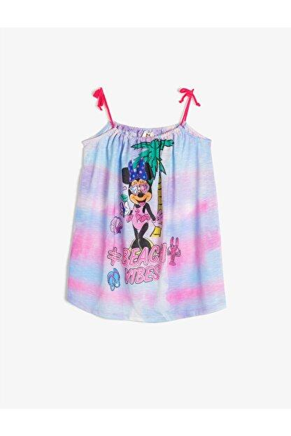 Koton Kız Çocuk Mavi Minnie Askılı Elbise
