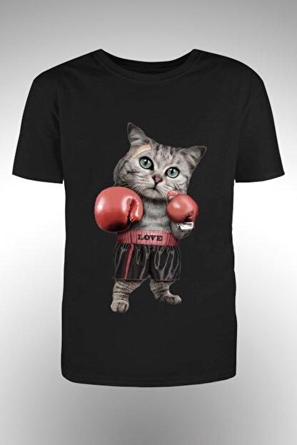 By Okat Boksör Kedi Baskılı Tshirt