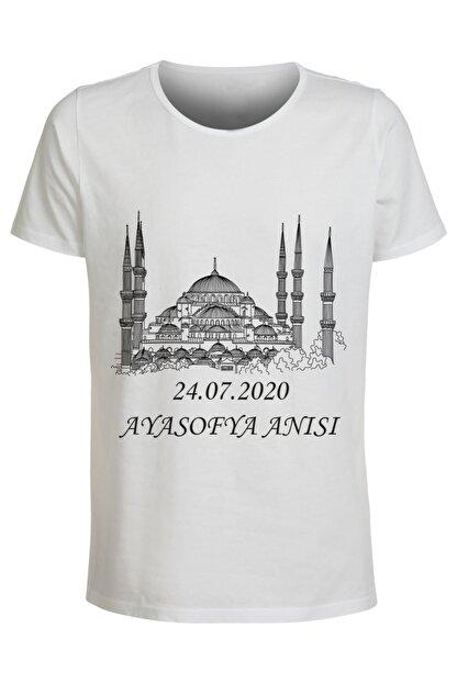 ABC Kadın Beyaz Ayasofya Anısı Baskılı T-Shirt