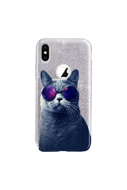 Cekuonline Iphone Xr Kılıf Simli Shining Desenli Silikon Gümüş Gri - Stok909 - Hii Cat