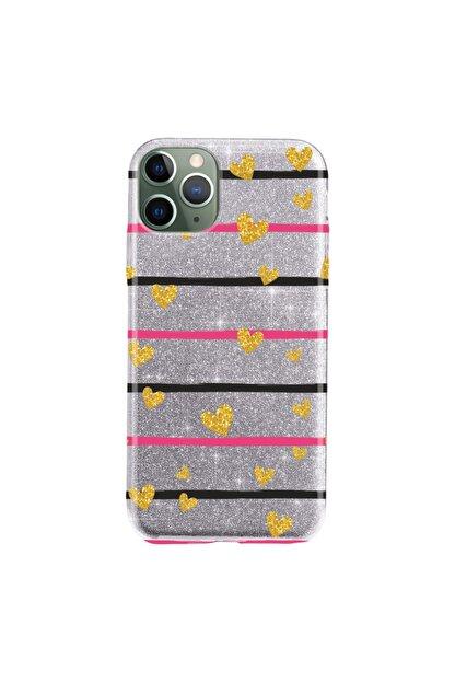"""Cekuonline Iphone 11 Pro Max 6.5"""" Kılıf Simli Shine Desen Silikon Gümüş Gri - Stok871 - Kalplik"""