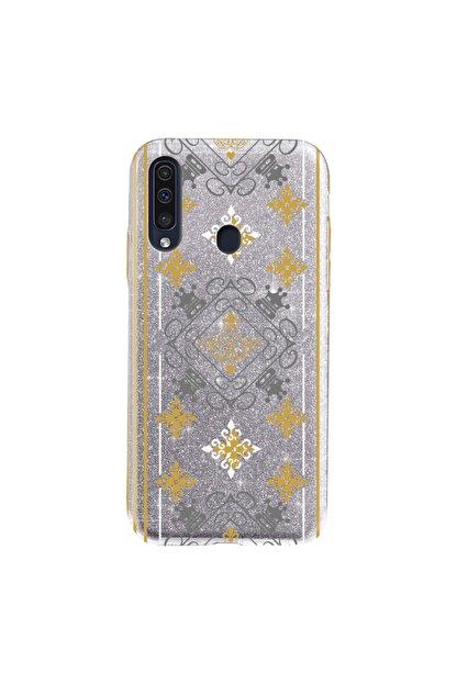 Cekuonline Samsung Galaxy A20s Kılıf Simli Shining Desenli Silikon Gümüş Gri - Stok754 - Kral Deseni
