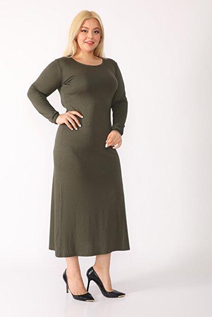 trendbwr Kadın Haki Yeşil Penye Elbise