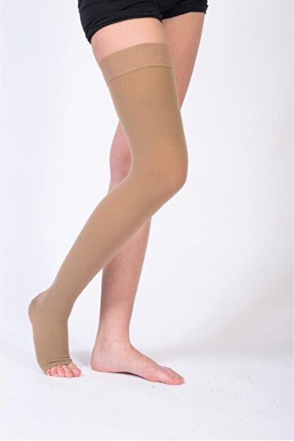 ORTOLİFE Orta Basınç Varis Çorabı Diz Üstü Açık Burun