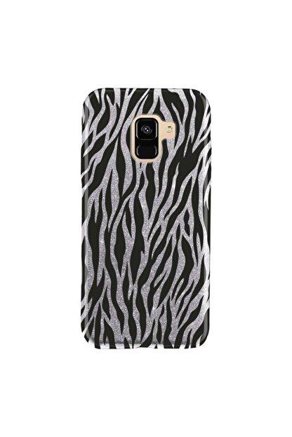 Cekuonline Samsung Galaxy J6 Kılıf Simli Shining Desenli Silikon Gümüş Gri - Stok64 - Zebra Mod