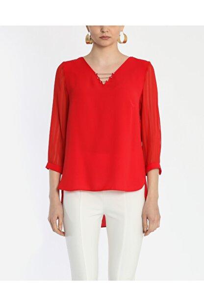 Ayhan Kadın Kırmızı V Yaka Bluz 1980892