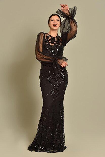 Modakapimda Siyah Kolları Tül Pul Payet Abiye Elbise