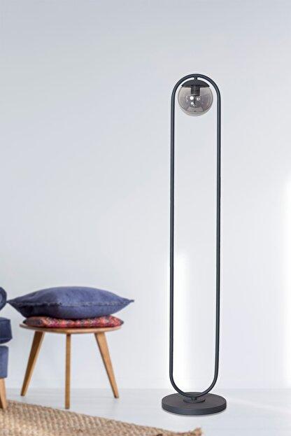 Luzarana Zenga Antrasit Metal Gövde Füme Camlı Tasarım Lüx Yerden Aydınlatma Lambader