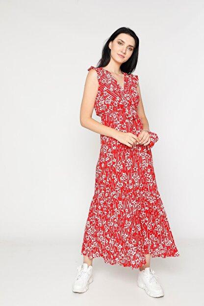 EPULİMO Kadın Kırmızı Kruvaze Yaka Kuşaklı Kısa Kol Viskon Elbise Mcg 621