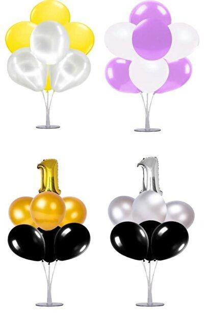 KullanAtParty Altın Beyaz Pembe 4 Yaş Doğum Günü Temalı Balon Standı