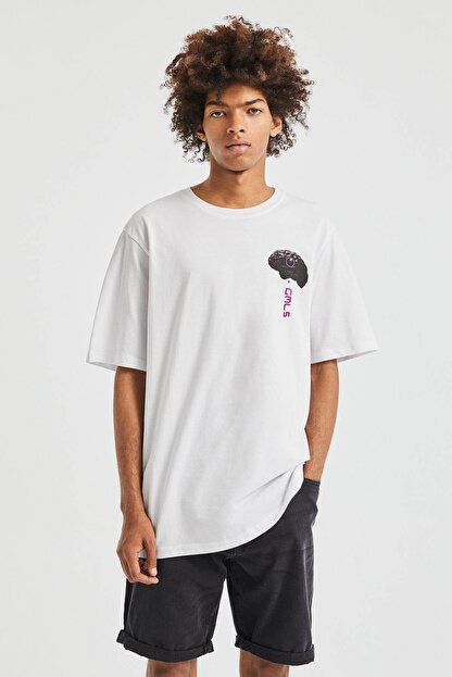 Pull & Bear Erkek Beyaz El Desenli T-Shirt 09247567