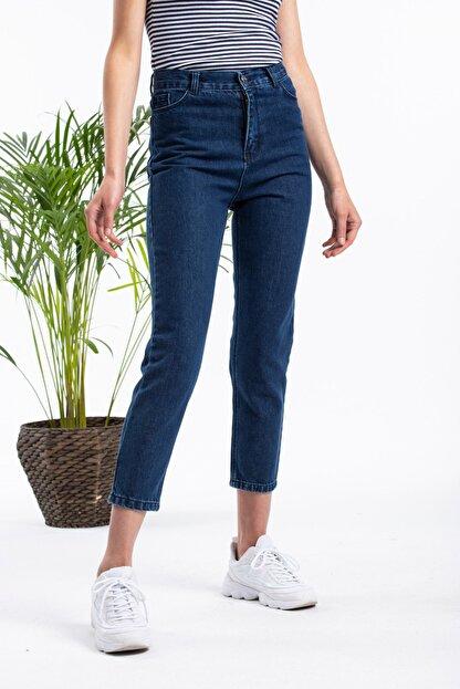 Masteks Kadın Koyu Mavi Boyfriendi Mom Jeans