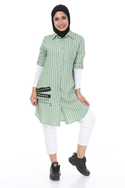 heradise Kadın Çağla Yeşili Uzun Çizgili Tunik - 5136