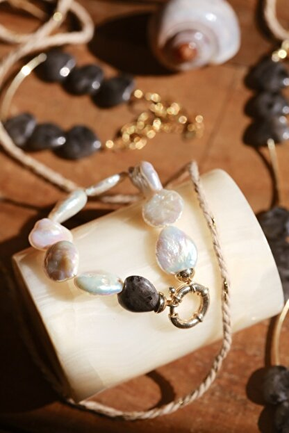 Linya Jewellery Kadın Altın Kalpli Onıx  Inci Bileklik