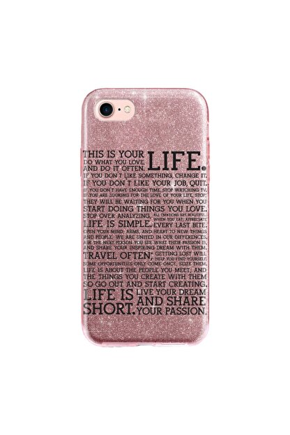 cupcase Iphone 6 Kılıf Simli Parlak Kapak Pembe Rose Gold - Stok1789 - Travel Life