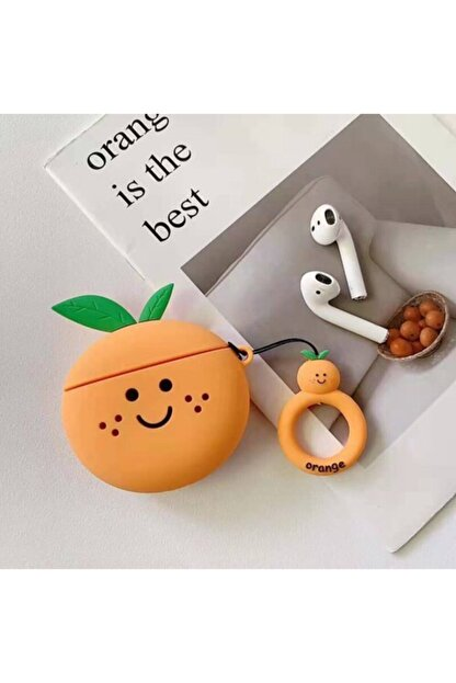Sunix Sevimli Portakal (fruit)silikon 1.-2. Nesil Apple Airpods Kılıf