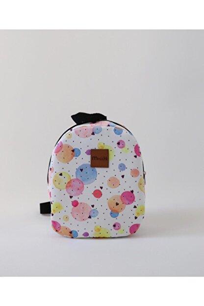 MiniHİ Çanta Kız Çocuk Beyaz Yaş Sulu Boya Desenli Çanta
