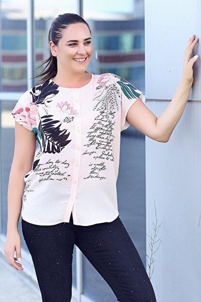 Womenice Kadın Büyük Beden Pudra Çiçek Baskılı Kobe Krep Gömlek