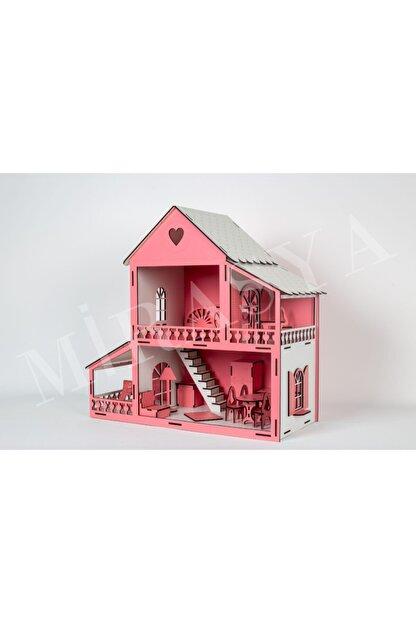 TURKAFONE Ahşap Barbi Oyun Çocuk Evi - 19 Parça Oyuncak 45cm (pembe)