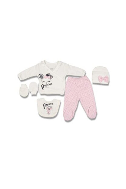 Miniworld 14460 Kız Bebek Fiyonklu Prenses 5'li Hastane Çıkışı Zıbın Set