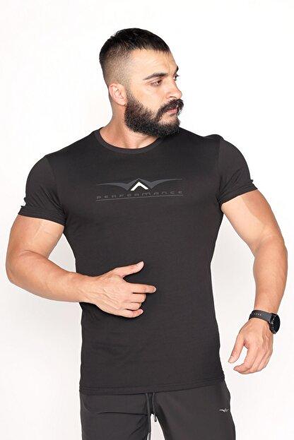 BESSA Bisiklet Yaka Süprem Kumaş Fosfor Baskı Detaylı Siyah T-shirt