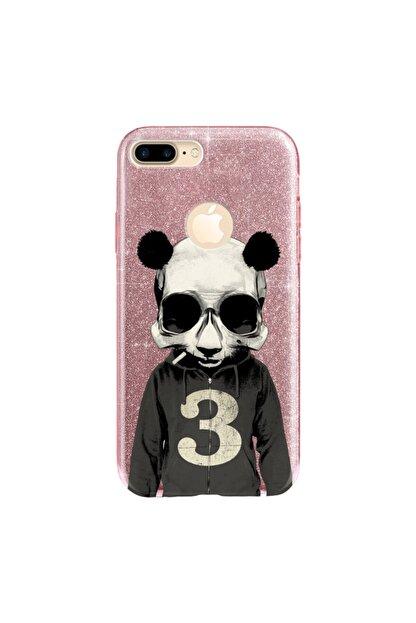 cupcase Iphone 7 Plus Kılıf Simli Parlak Kapak Pembe Rose Gold - Stok661 - Skull Panda