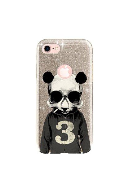cupcase Iphone 7 Kılıf Simli Parlak Kapak Altın Gold Renk - Stok661 - Skull Panda