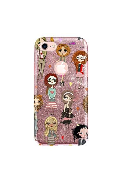 cupcase Iphone 7 Kılıf Simli Parlak Kapak Pembe Rose Gold - Stok715 - Kolej Modası