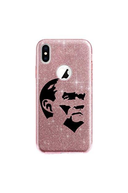 cupcase Iphone Xs Kılıf 5.8 Inc Simli Parlak Kapak Pembe Rose Gold - Stok242 - Atatürkiye