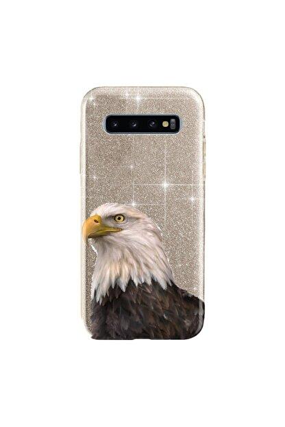 cupcase Samsung Galaxy S10 Kılıf Simli Parlak Kapak Altın Gold Renk - Stok534 - Kartal