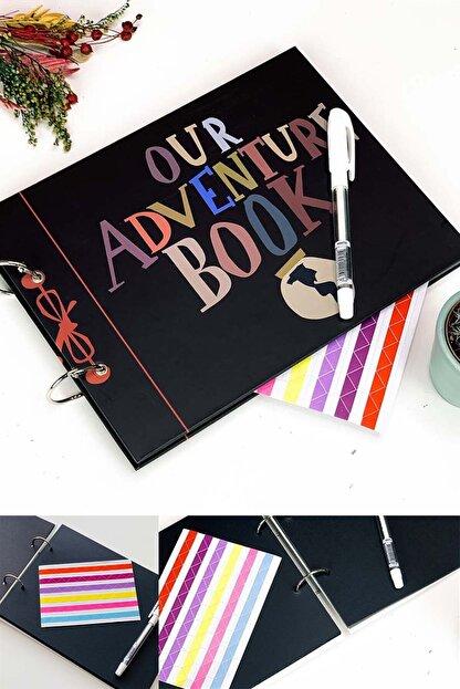 Patladı Gitti Our Adventure Book Tasarımlı Fotoğraf Albümü Anı Defteri; Beyaz Kalem Ve Yapıştırıcı Hediyeli